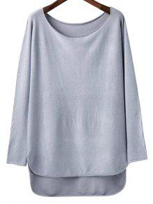 Buy High Low Scoop Neck Knitwear - LIGHT GRAY ONE SIZE