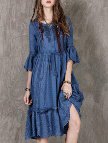Apenado Bordado Vestido A Media Pierna - Azul M
