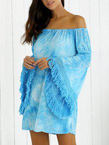 Flare Sleeve Off Shoulder Fringe Dress - Azure S