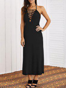 Lace-Up Halter Maxi Dress - Black L