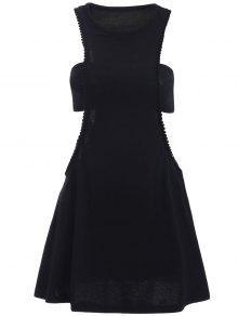 Preto Figura Para Recortar Semi Formal Mini Vestido - Preto S