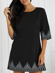 Print Round Neck Mini Dress - Black L