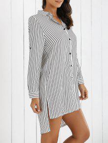 Boyfriend Striped Shirt Dress - White Xl