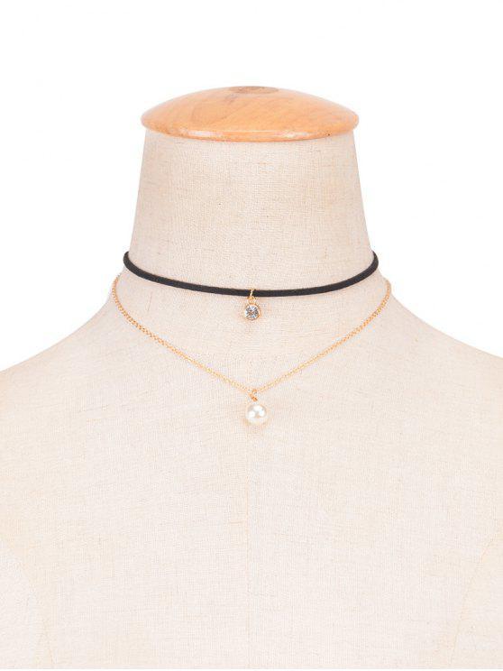 Rhinestone de la perla de Faux en capas Gargantilla - Negro