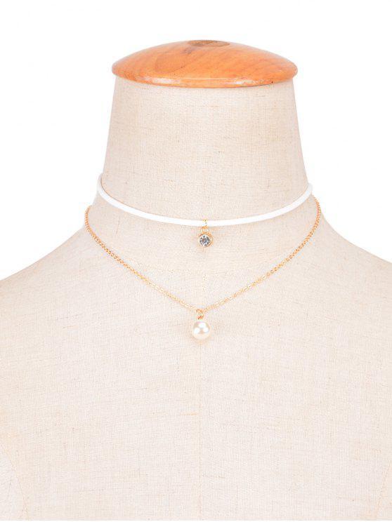 Rhinestone de la perla de Faux en capas Gargantilla - Blanco