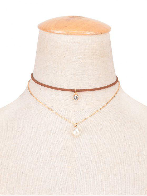 buy Rhinestone Faux Pearl Layered Choker - BROWN