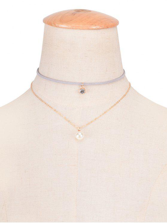 Collier ras-de-cou superposé strass fausses perles - gris