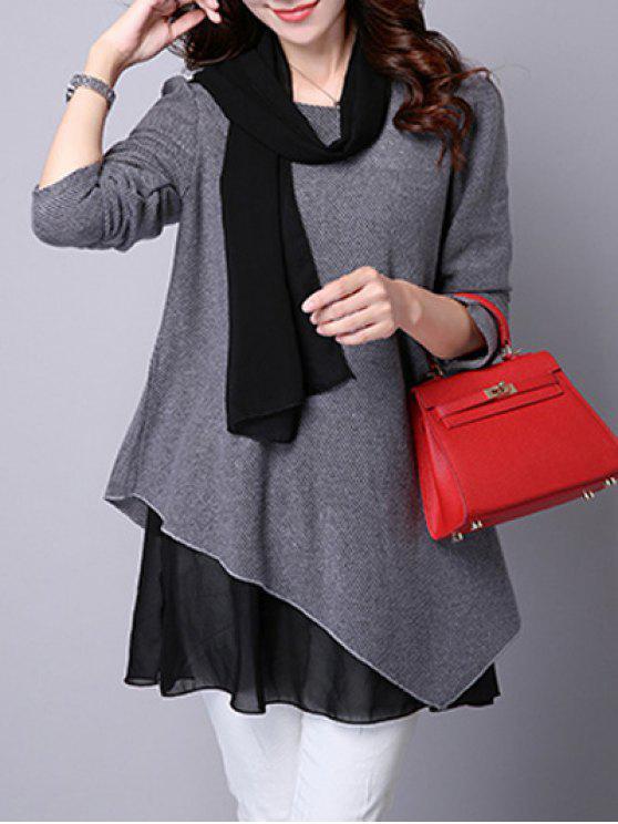 Asymmetrische Bluse mit Faux Twinset und Langarm - Grau XL