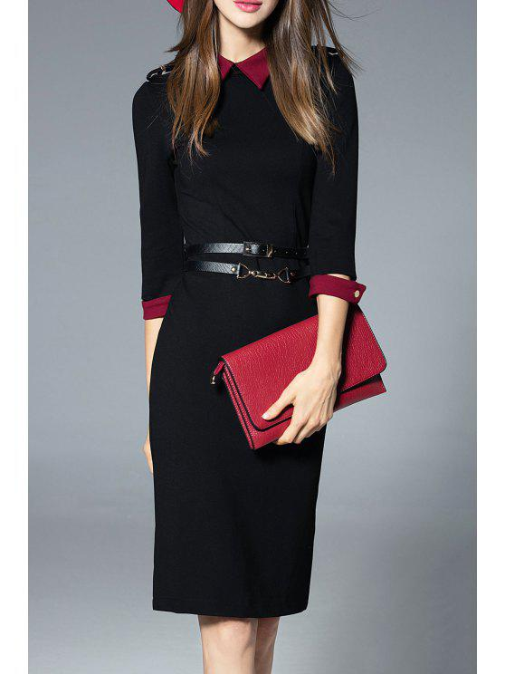 outfits Knee Length Work Sheath Dress - BLACK L