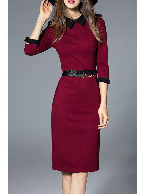 Chic Knee Length Work Sheath Dress Wine Red S