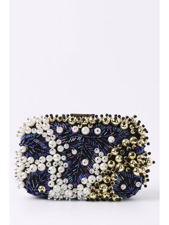 outfits Beading Rhinestone Faux Pear Evening Bag - BLACK