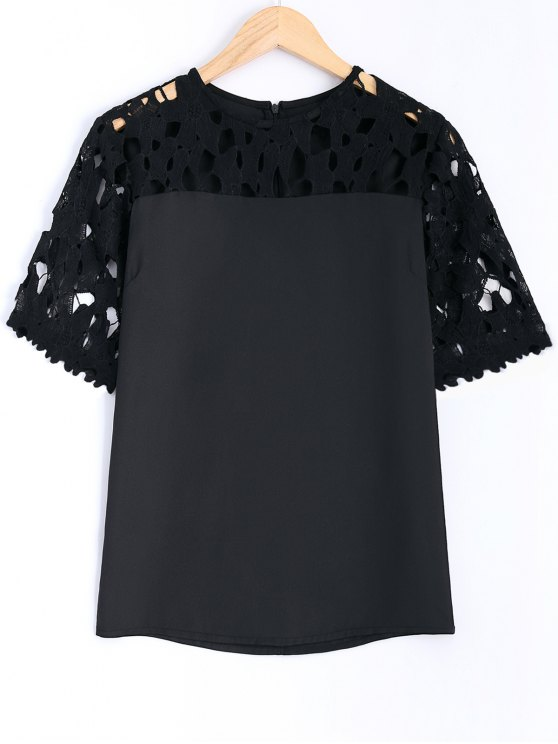 womens Guipure Lace Splicing Openwork Blouse - BLACK L