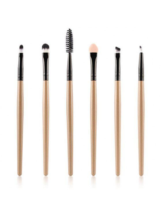 6 PC-Nylon-Augen-Make-up-Bürsten-Set - Champagne-Gold