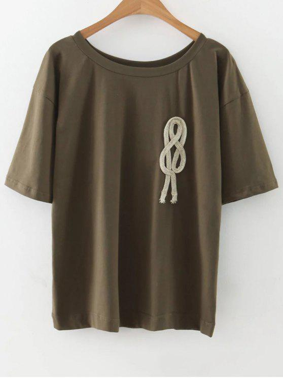 chic Loose String T-Shirt - ARMY GREEN M