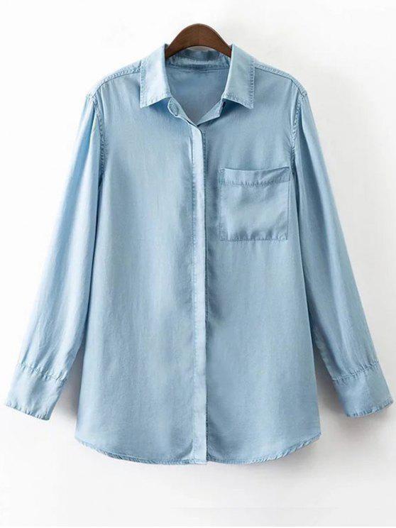 2ccc92777317e9 30% OFF] 2019 Pocket Denim Shirt In BLUE | ZAFUL