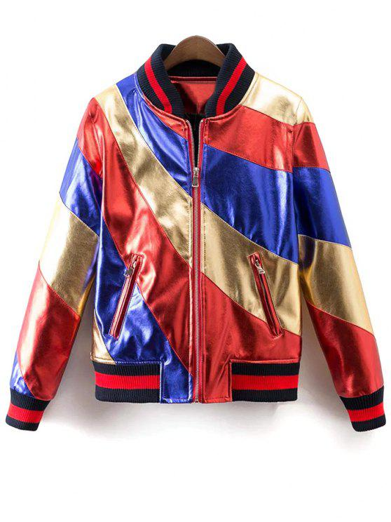 lady Color Block PU Bomber Jacket - MULTI L