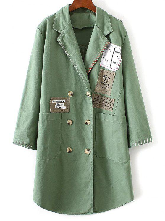 outfits Double-Breasted Letter Patch Coat - LIGHT GREEN ONE SIZE
