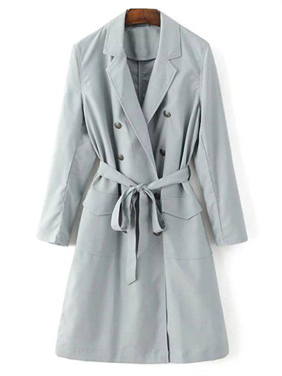 shops Lapel Collar Belted Trench Coat - LIGHT GRAY S