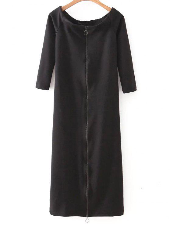 buy Off The Shoulder Back Zip Up Dress - BLACK M