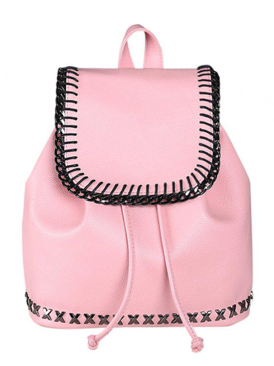 fashion String Magnetic Closure Metal Backpack - PINK