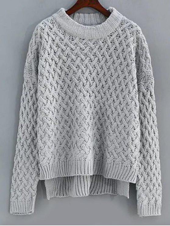 84dd7ab77fc Basket Weave Knit High Low Sweater
