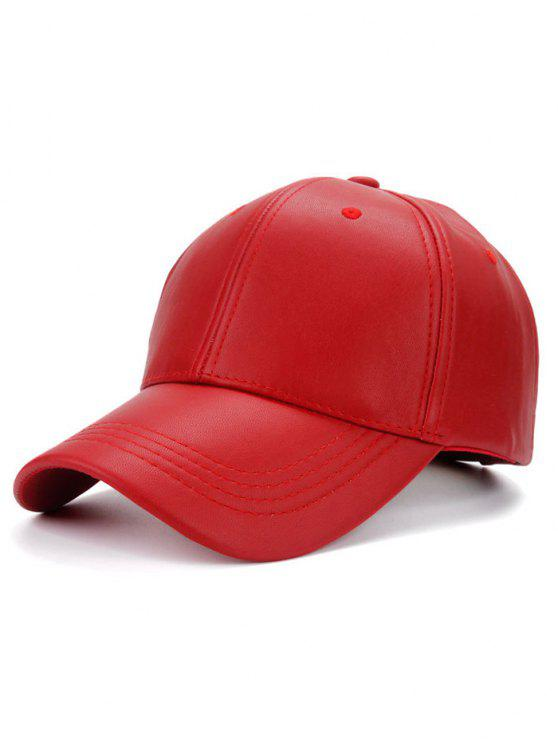 outfits Smooth Faux Leather Baseball Hat - RED a39327b9b3a