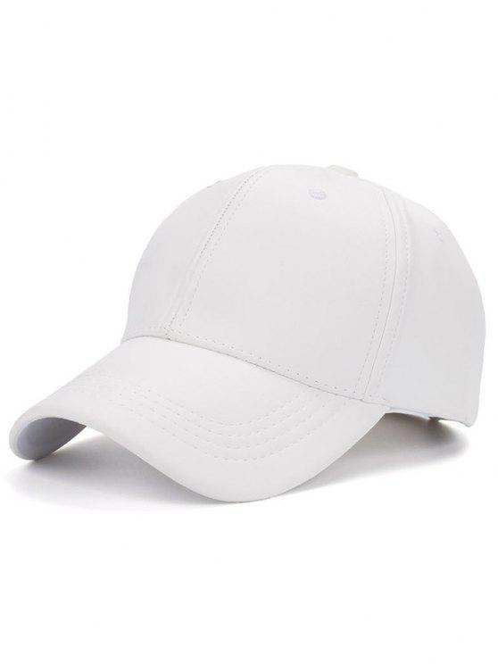 shops Smooth Faux Leather Baseball Hat - WHITE