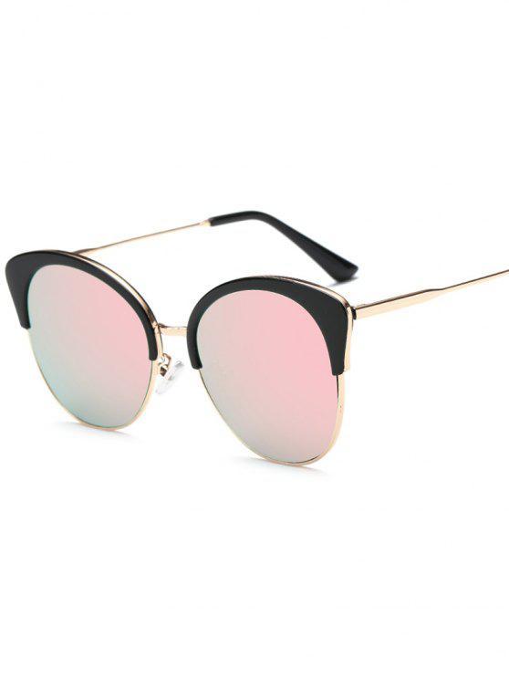 Llantas dobles con espejo gafas de sol de la mariposa - Rosa