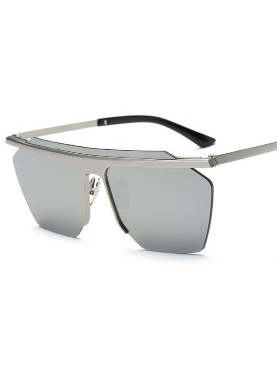 fashion Rimless Mirrored Square Sunglasses - SILVER