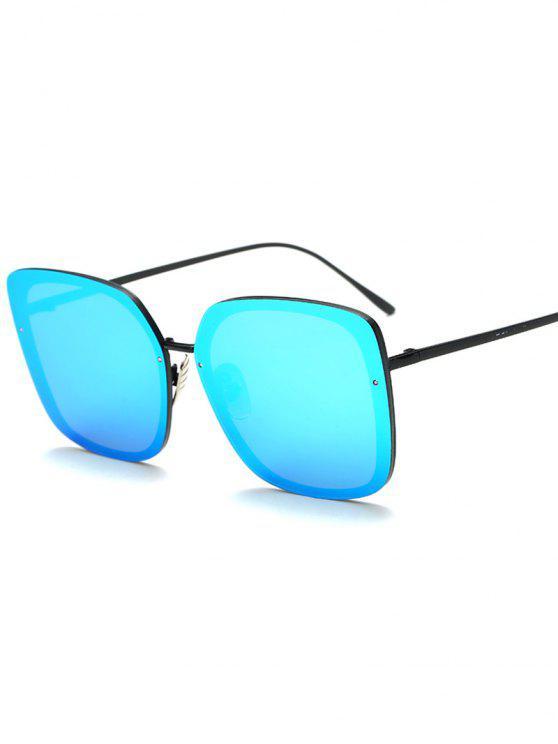 women Irregular Square Mirrored Sunglasses - LIGHT BLUE