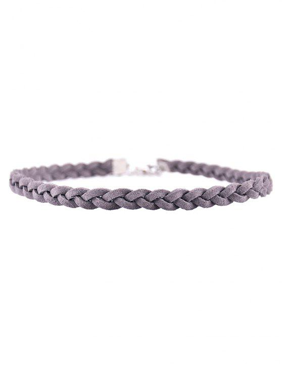 shops Faux Leather Rope Woven Choker - GRAY