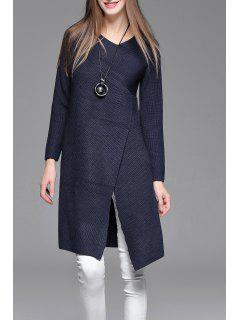 Asymmetric Sweater Dress - Purplish Blue S
