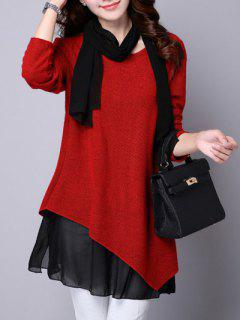 Long Sleeve Faux Twinset Asymmetric Blouse - Red S