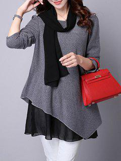 Long Sleeve Faux Twinset Asymétrique Blouse - Gris Xl
