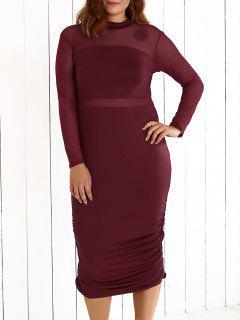 Plus Size Mesh-Insert Ruched Zipper Design Dress - Wine Red L