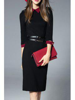 Knee Length Work Sheath Dress - Black S