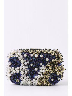 Beading Rhinestone Faux Pear Evening Bag - Black