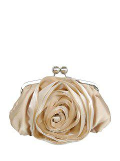 Kiss Lock Satin Flower Evening Bag - Champagne