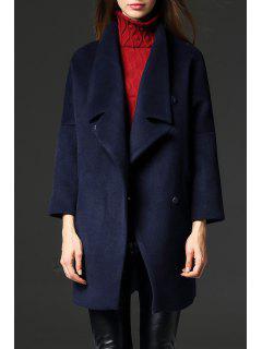 Manteau De Sucrerie De Couleur Longue - Bleu Foncé S