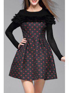 Long Sleeve Spliced Circle Print Dress - Black S