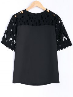 Guipure Lace Splicing Openwork Blouse - Black 5xl