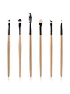 6 Pcs Nylon Eye Makeup Brushes Set - Champagne Gold