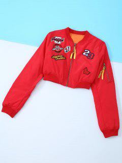 Appliques Embroidery Long Sleeve Jacket - Red M