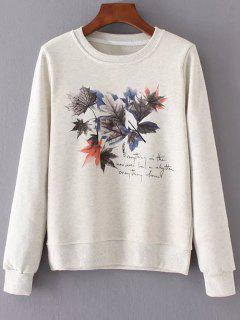 Fitting Hojas De Arce De La Camiseta De Impresión - Blanco Natural M