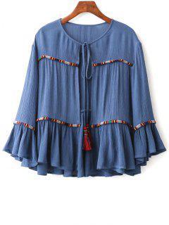 Cuello Redondo De La Llamarada De La Manga De La Blusa Recortada - Azul M
