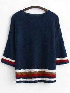 Jacquard Striped Sweater - Purplish Blue