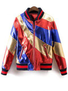 Color Block PU Bomber Jacket - Multi M