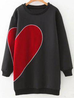 Corazón Suelta La Camiseta Bordada - Negro M