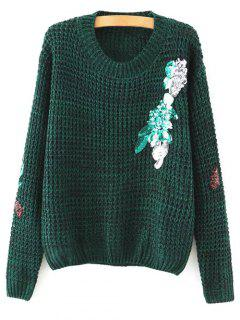Sequins Round Neck Sweater - Blackish Green L