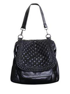 Plaid Pattern PU Leather Magnetic Closure Backpack - Black